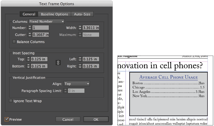 Indesign wrap text around png. Tutorial frame options in