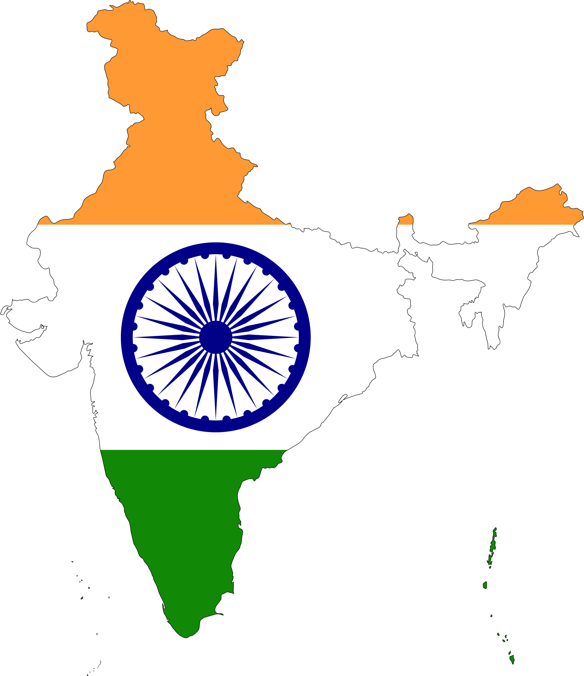 India transparent map. Clipart flag with stroke