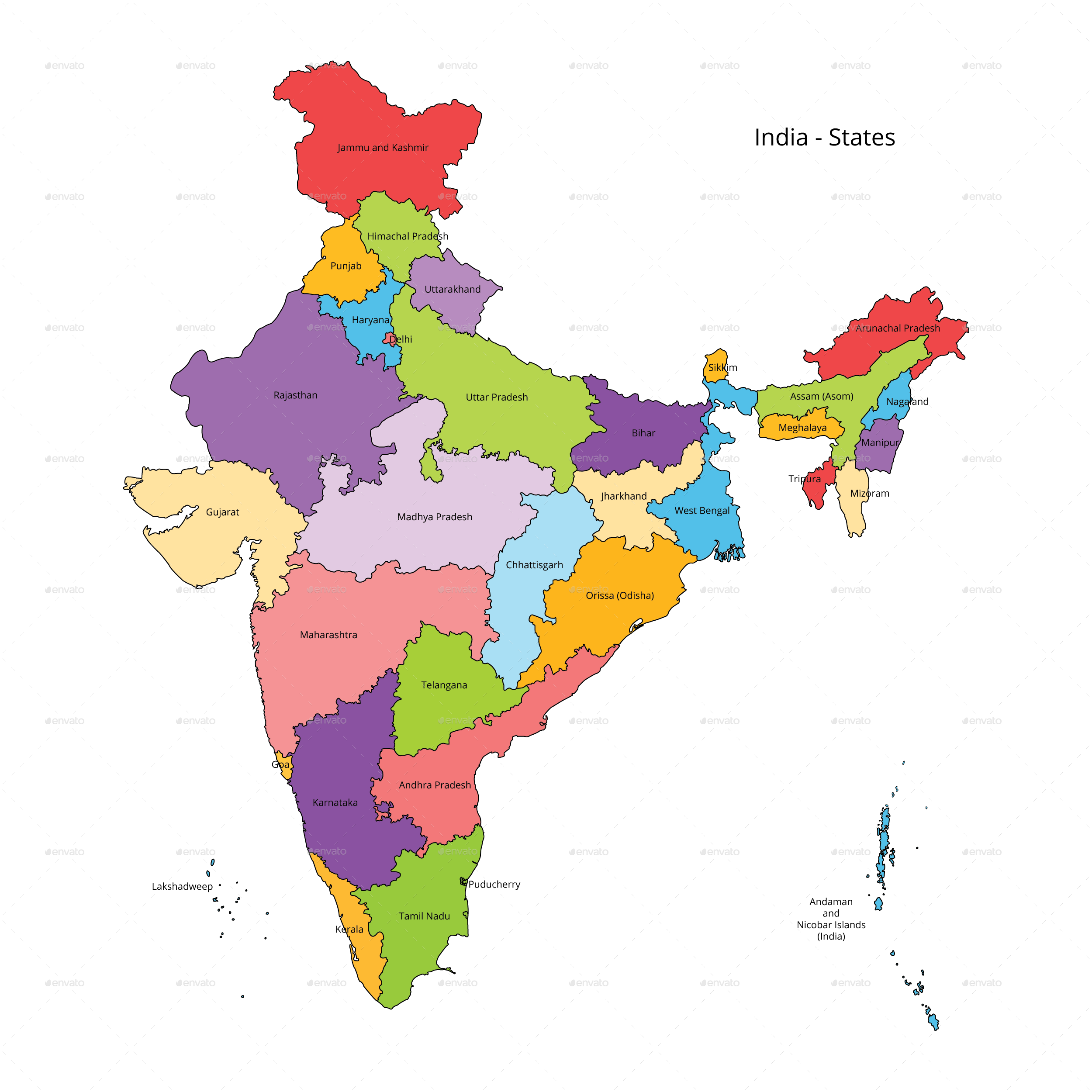 India transparent map. States and outline by