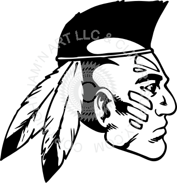 Drawing i indian. Head with mohawk profile