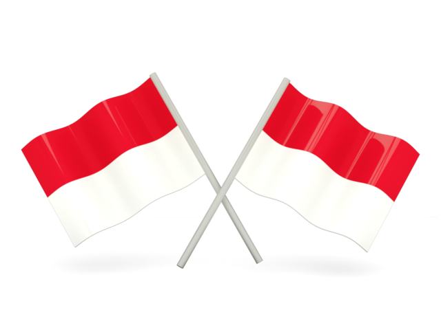 Indonesia flag png. Two wavy flags illustration