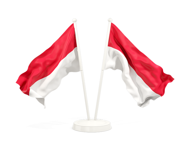 Indonesia flag png. Two waving flags illustration