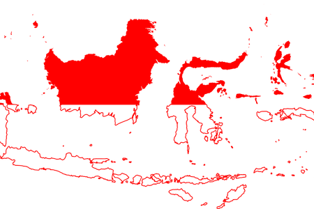 Indonesia vector background. Map png path decorations
