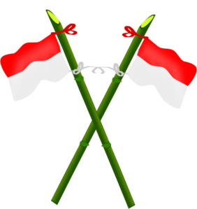 Indonesia vector cartoon. Bamboo and indonesian flag