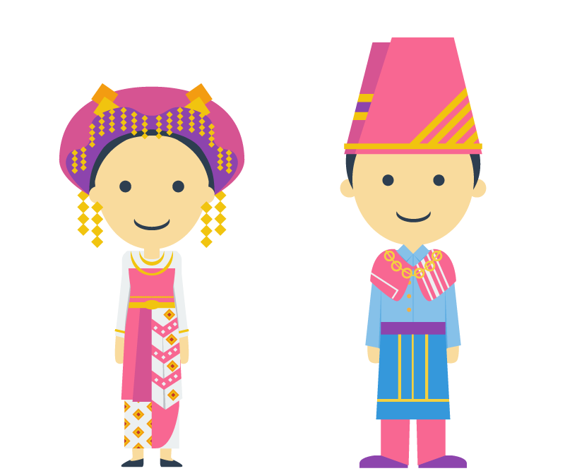 Indonesia vector culture. Flatnesia traditional dresses on