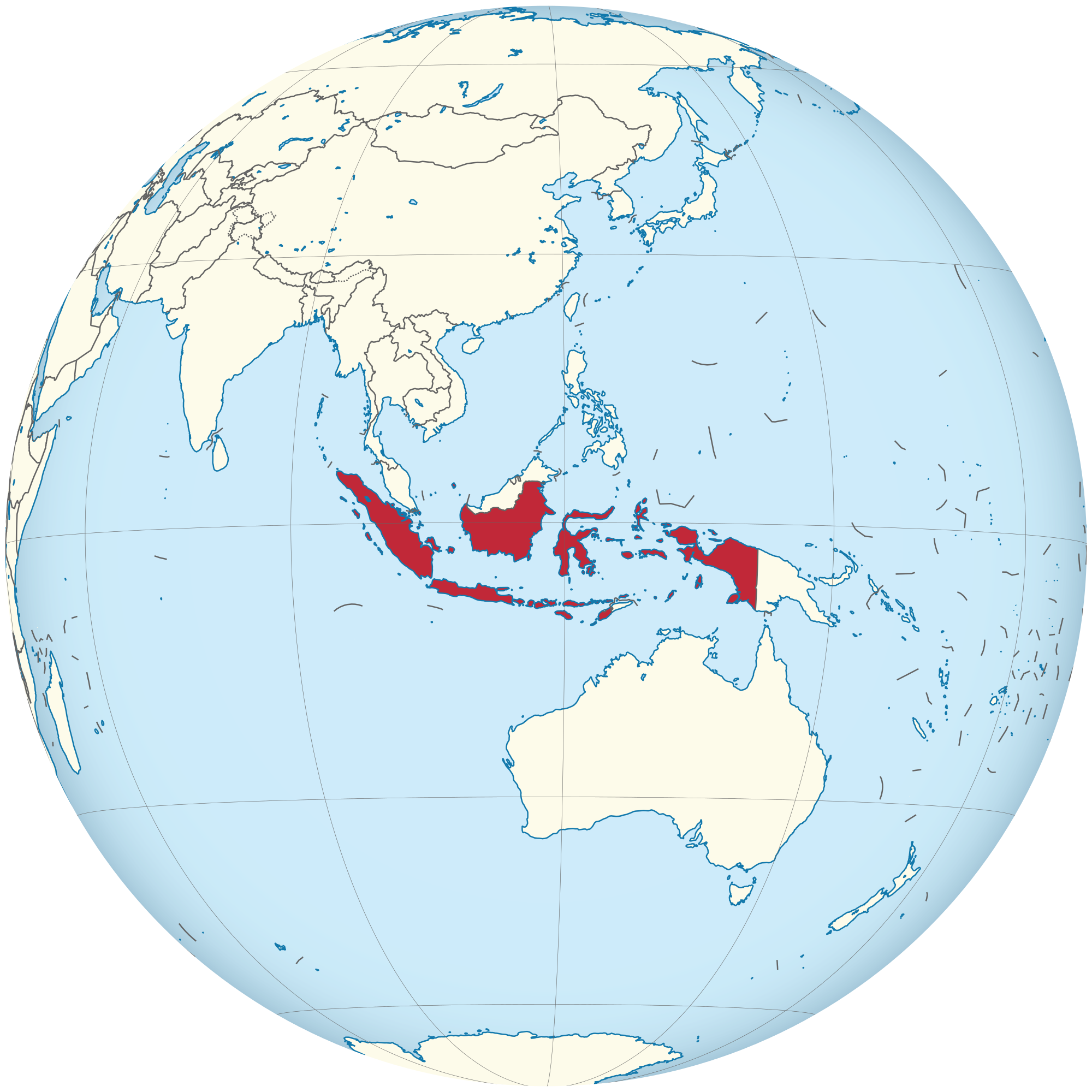 Indonesia vector globe. File on the centered