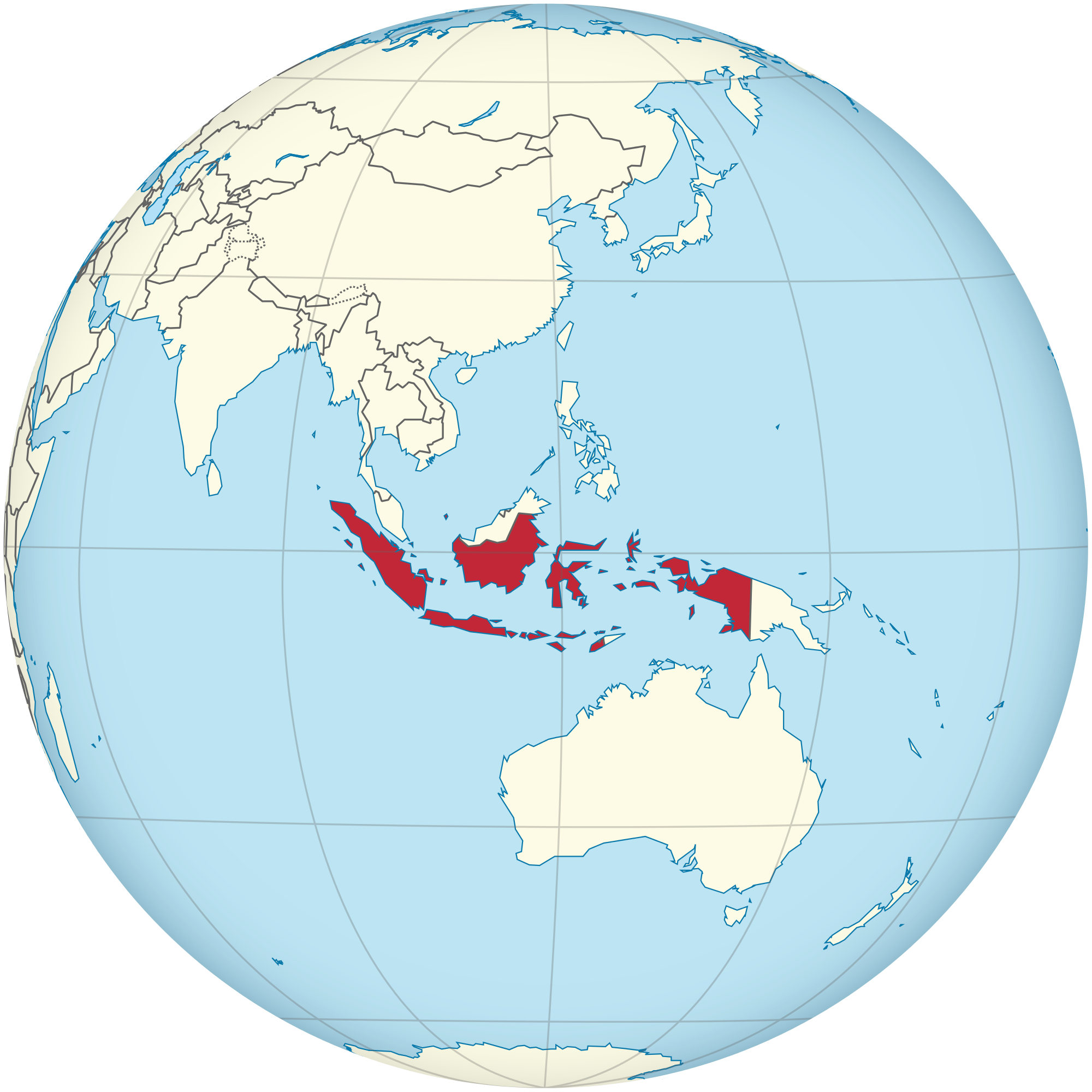Indonesia vector globe. File on the southeast