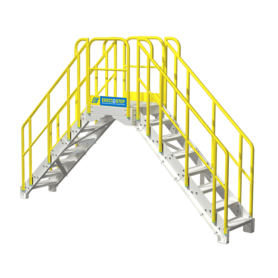 Steps vector stair side. Industrial step crossover stairs