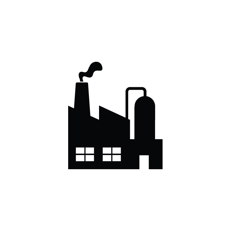 Vector factory white. Production industrial industry icon