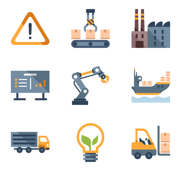 Industrial vector manufacture. Factory and manufacturing icons