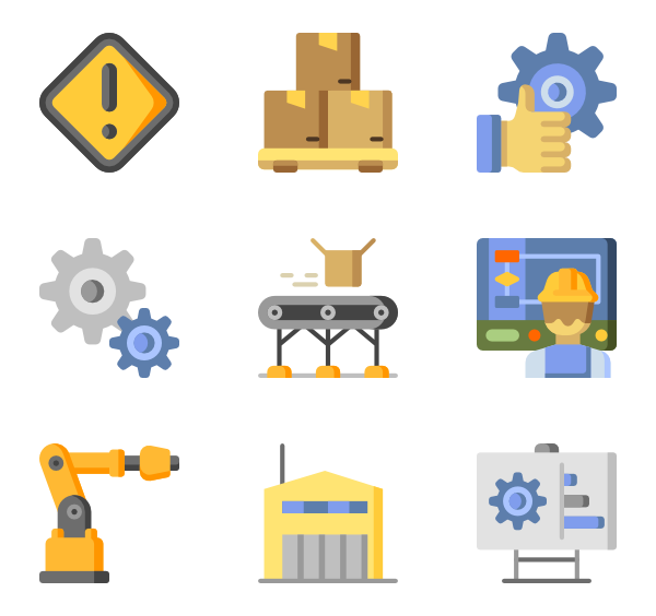 Industrial vector manufacture. Icon packs svg