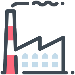 Industrial vector machinery. Image plant icon