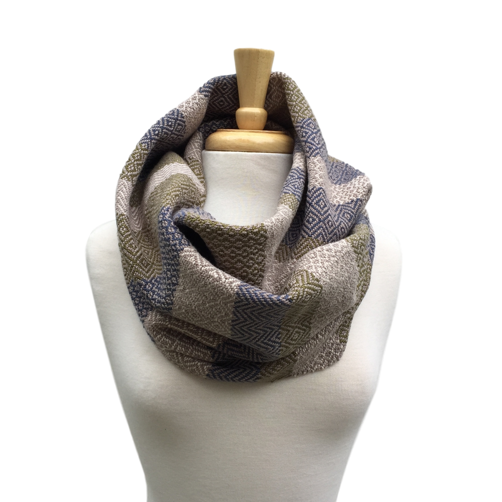 Infinity scarf png. Navy green and cream