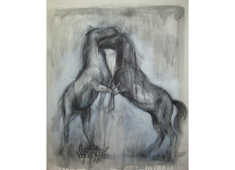 Ingres drawing line. Current series equine art