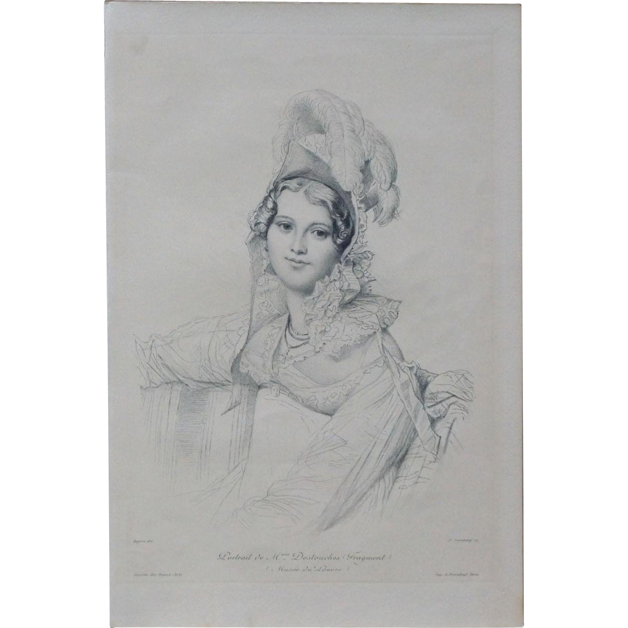 Sale french burin engraving. Ingres drawing portrait stock