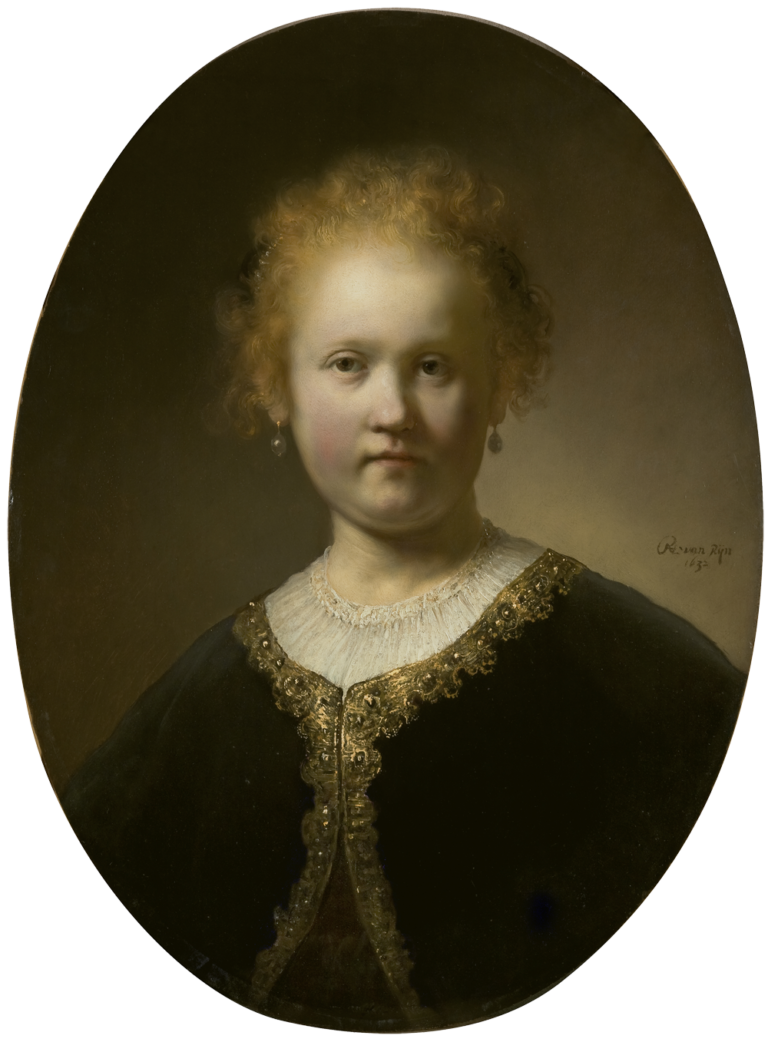 Ingres drawing portrait rembrandt. Young girl in a