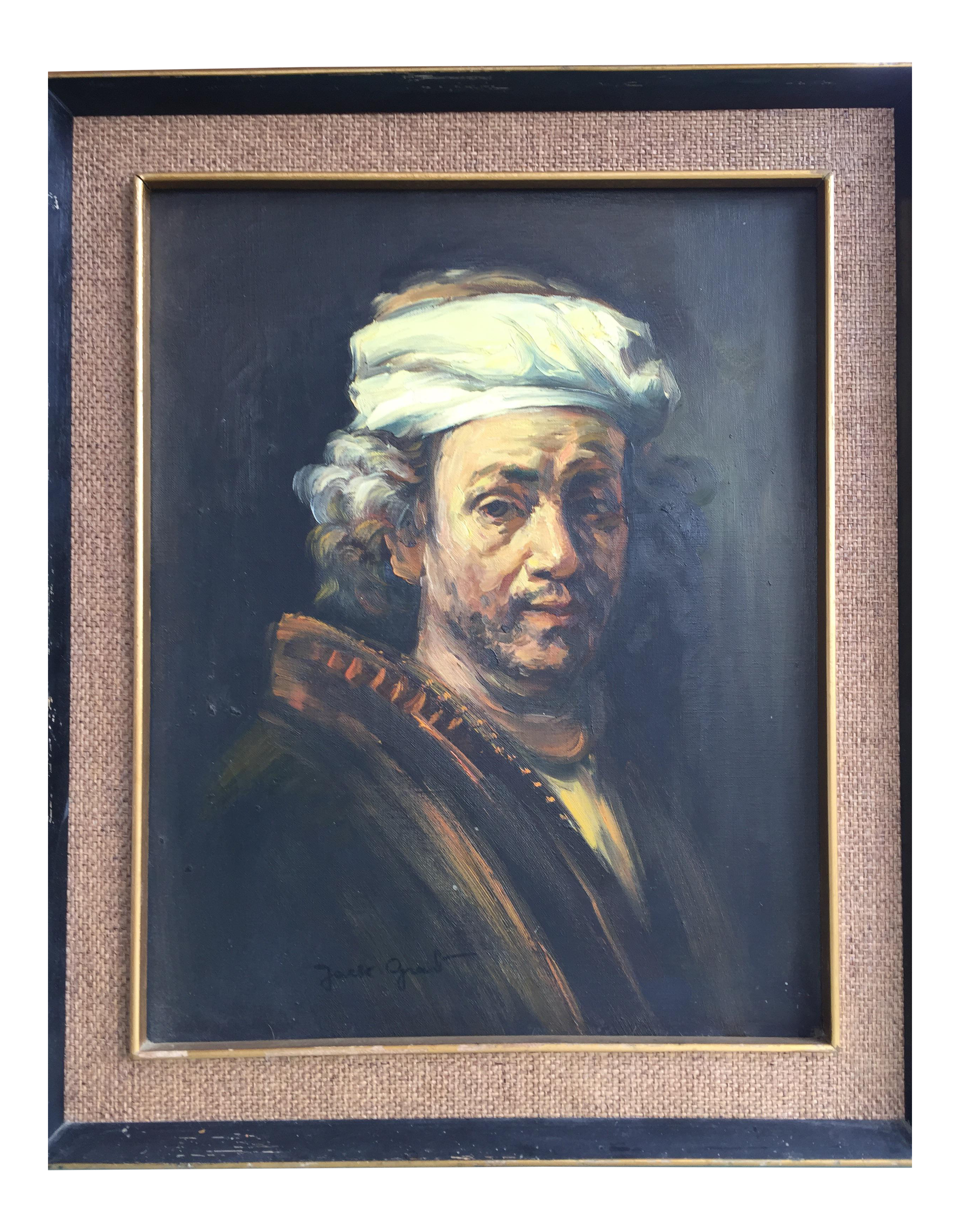 Ingres drawing self portrait. Rembrandt oil painting chairish