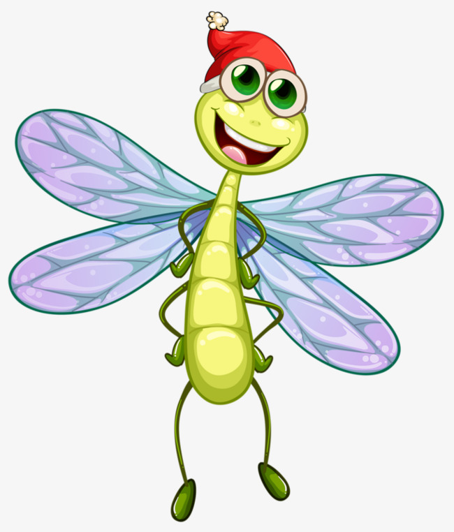 Insect clipart small insect. Cartoon dragonfly spring insects