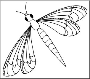 Insects clipart dragonfly. Clip art b w
