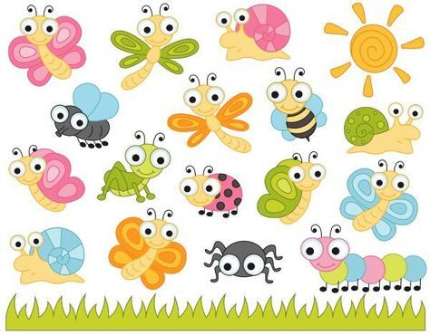Insects clipart dragonfly. Cute bugs clip art