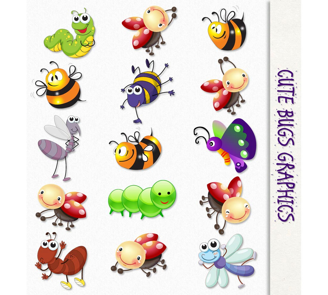 Cute clip art insects. Bugs clipart image black and white stock