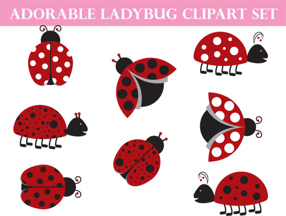 Insects clipart whimsical. Ladybug commercial use art
