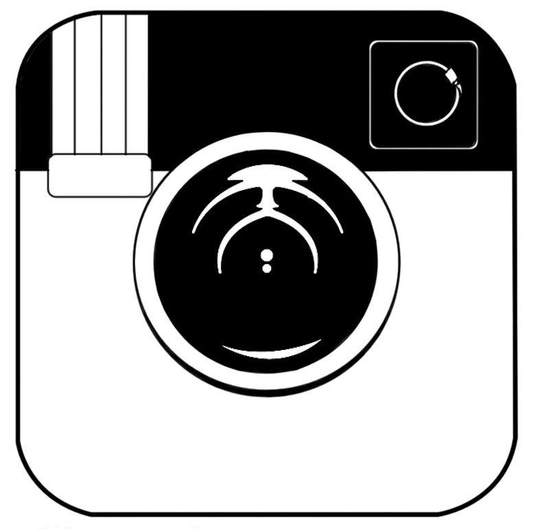 Instagram clipart instagram icon. White pencil and in