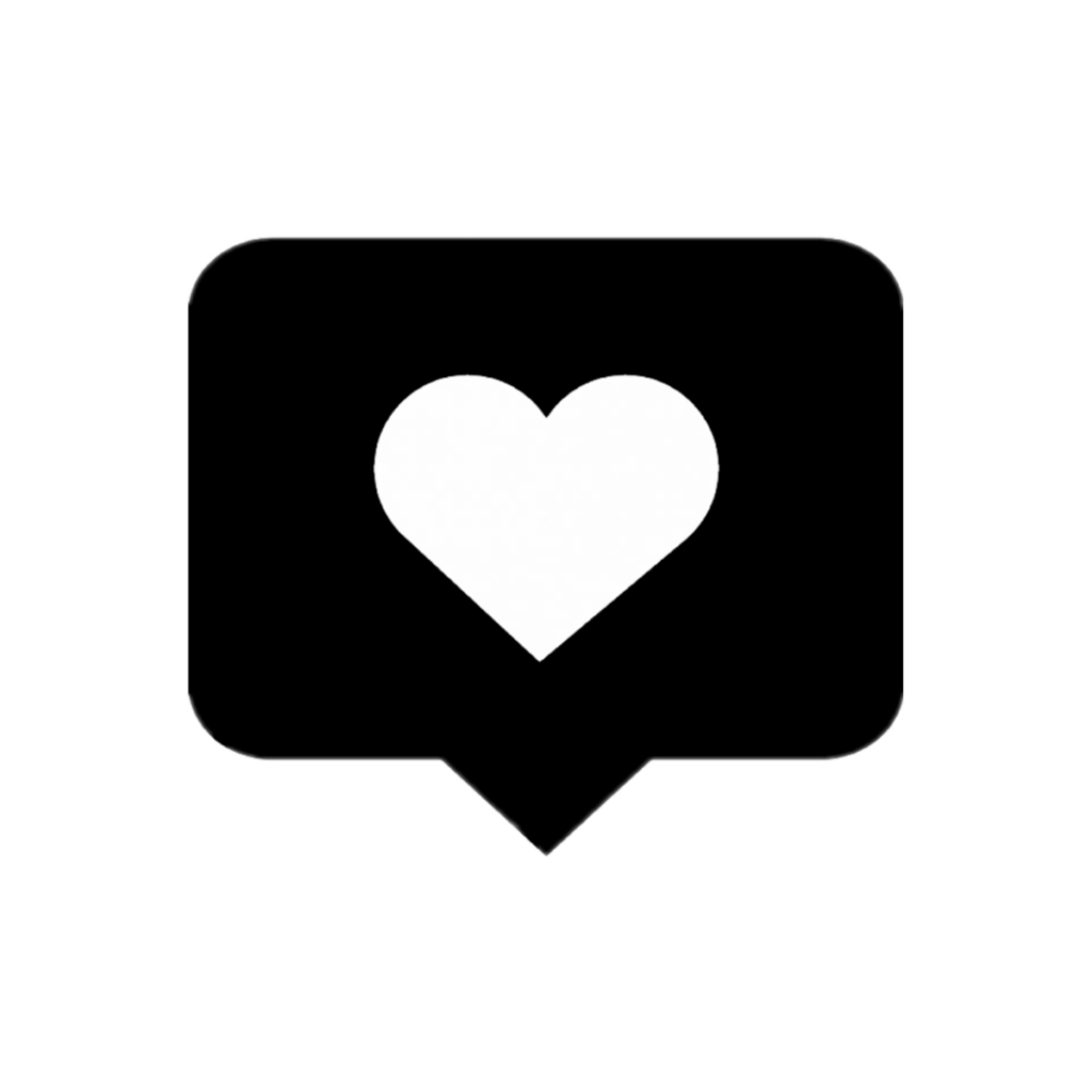 Instagram like png. Love heart black box