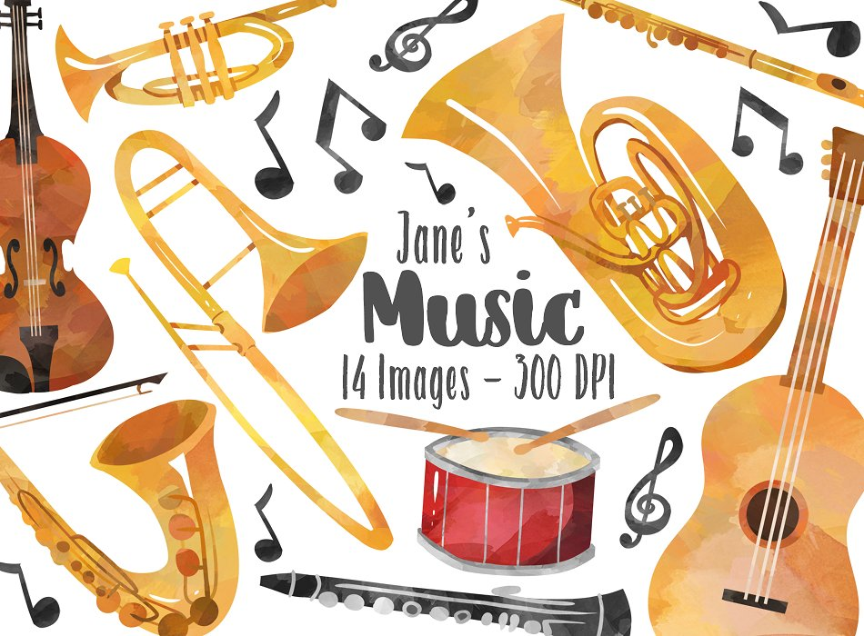 Instruments clipart band instrument. Musical illustrations creative market