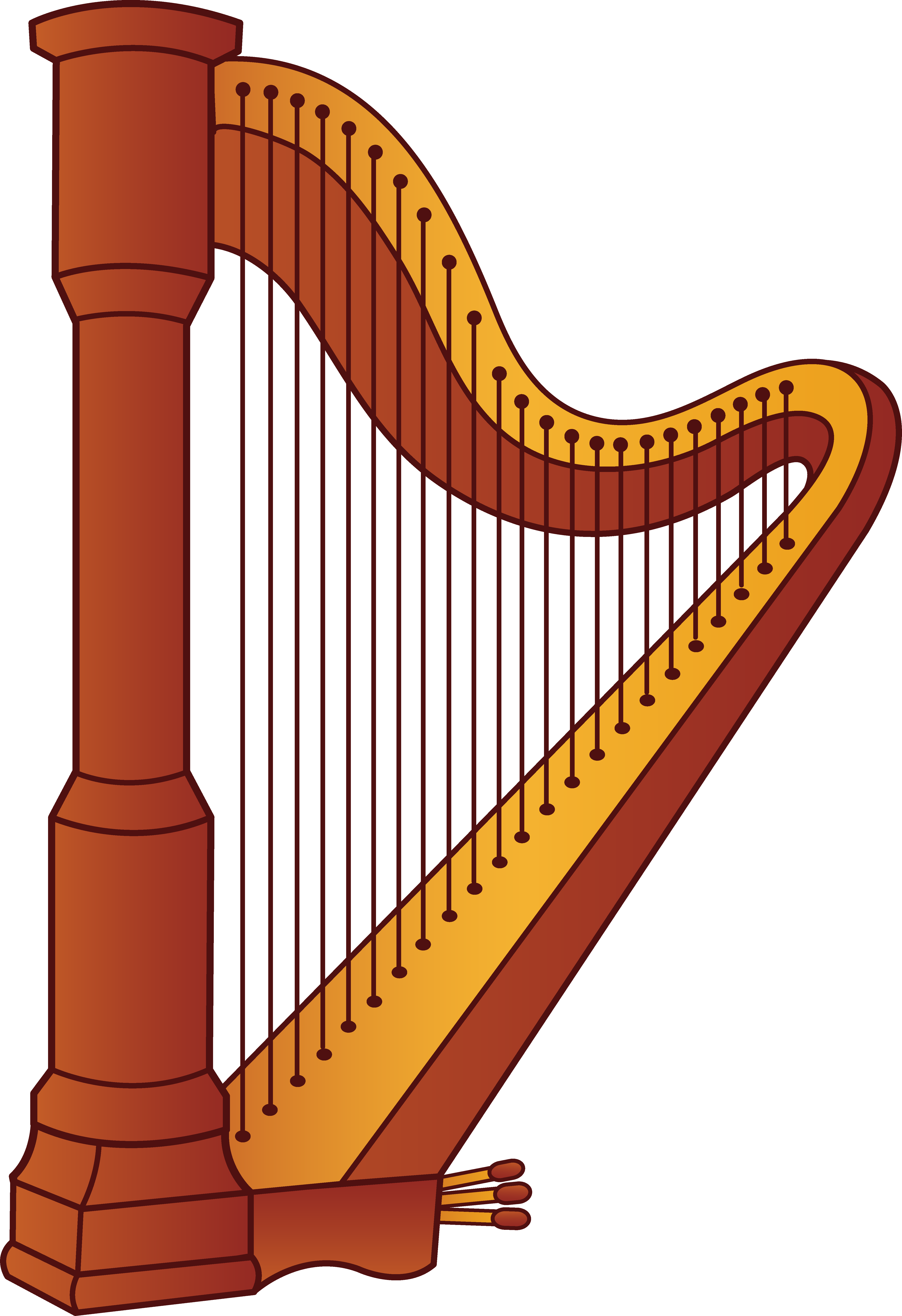Classroom vector music. Harp musical instrument let