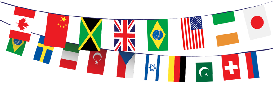 International flags banner png. Innovate my school taking