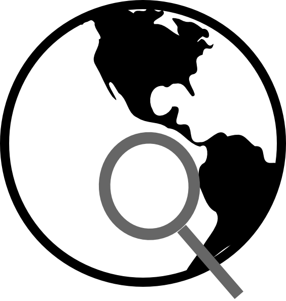 Internet clipart black and white. Simple earth with magnifying