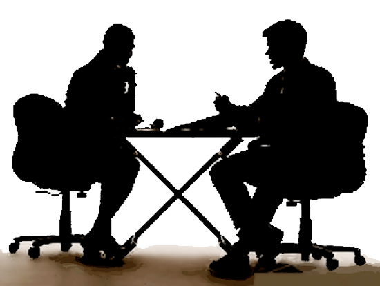 Interview clipart silhouette. Free download png clip