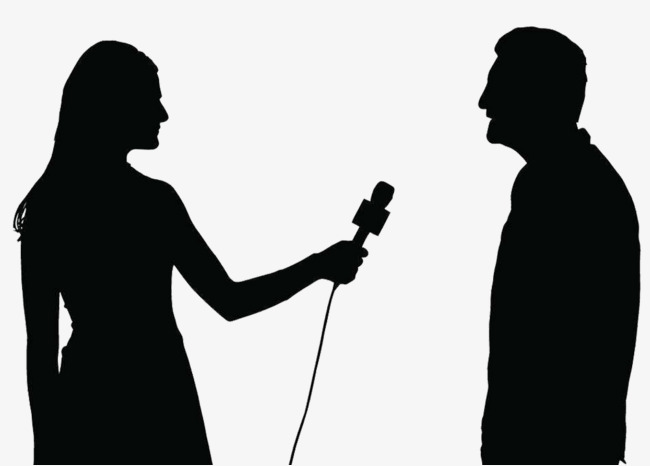 Interview clipart silhouette. Live of reporter png