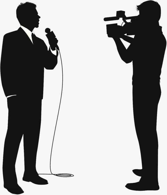 Interview clipart silhouette. Reporters reporter png image
