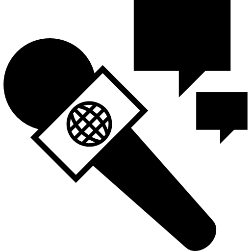 Interview vector room. With microphone icons free