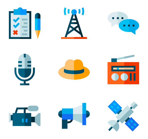 Vector communications communication icon. Journalist icons free interview