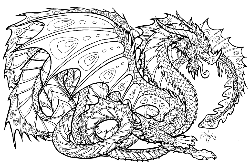 Intricate drawing. Coloring pages dragon animal