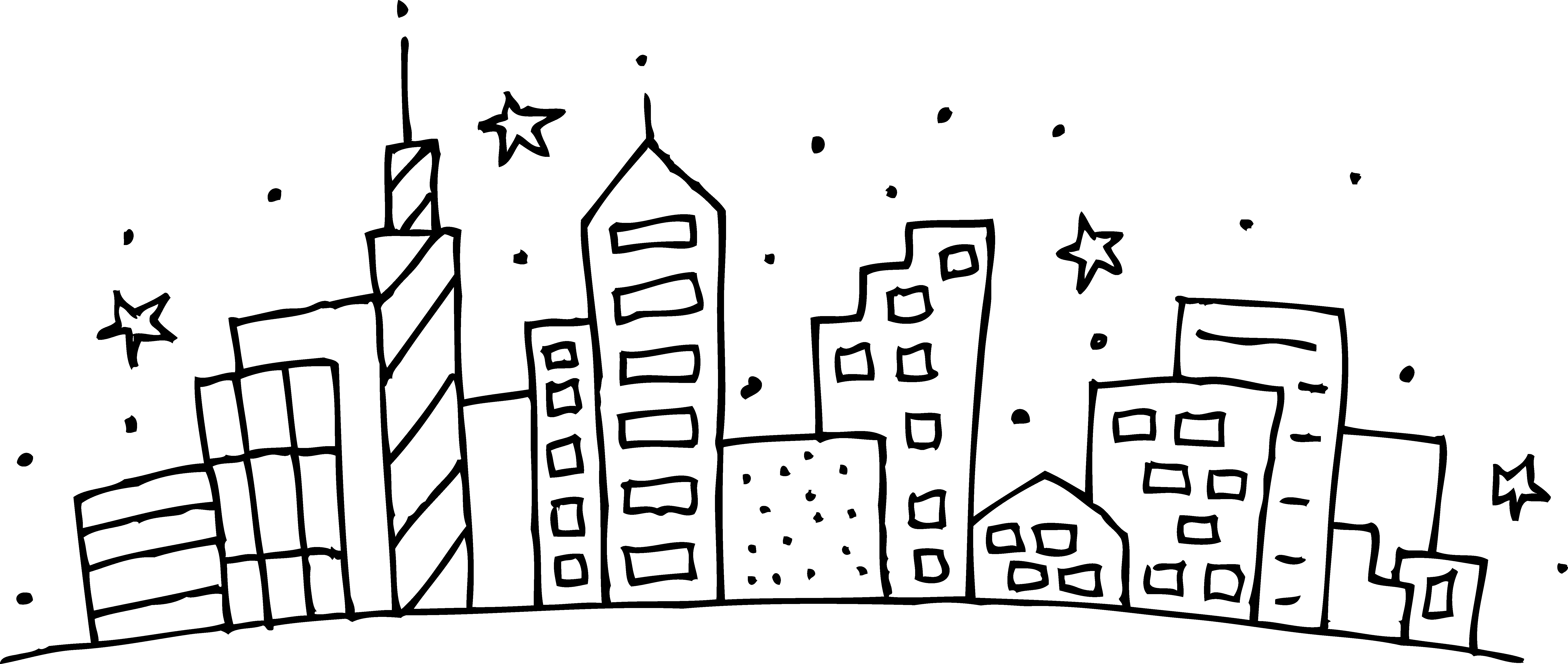 Intricate drawing city. Collection of free cities