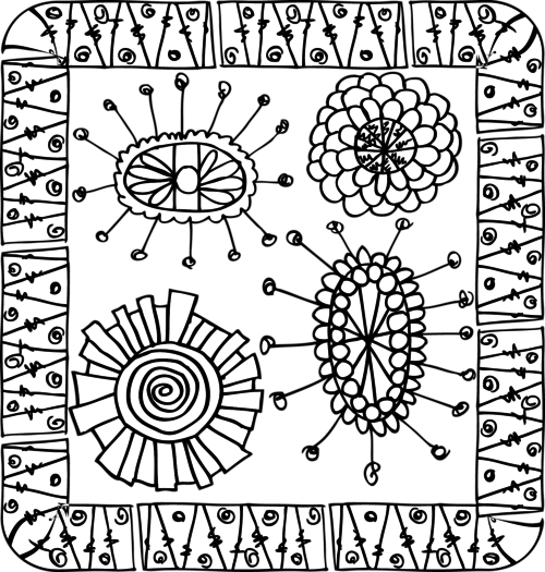 Intricate drawing doodle. Coloring page flowers art