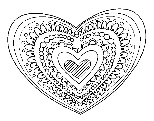 Pencils drawing love heart. Mandala coloring pages online