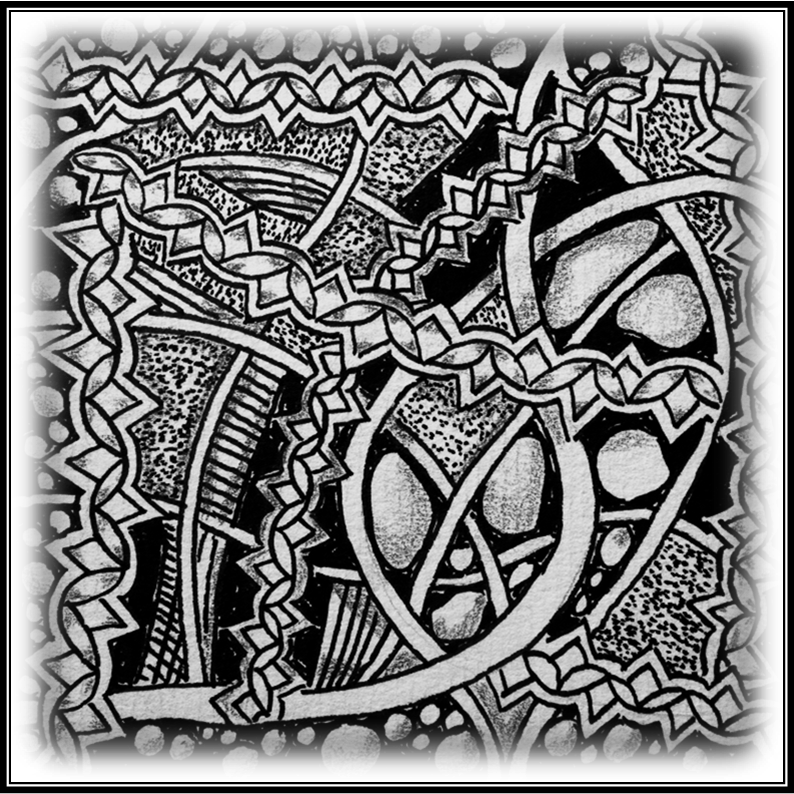 Intricate drawing ink. Zentangle challenge xplore xpress