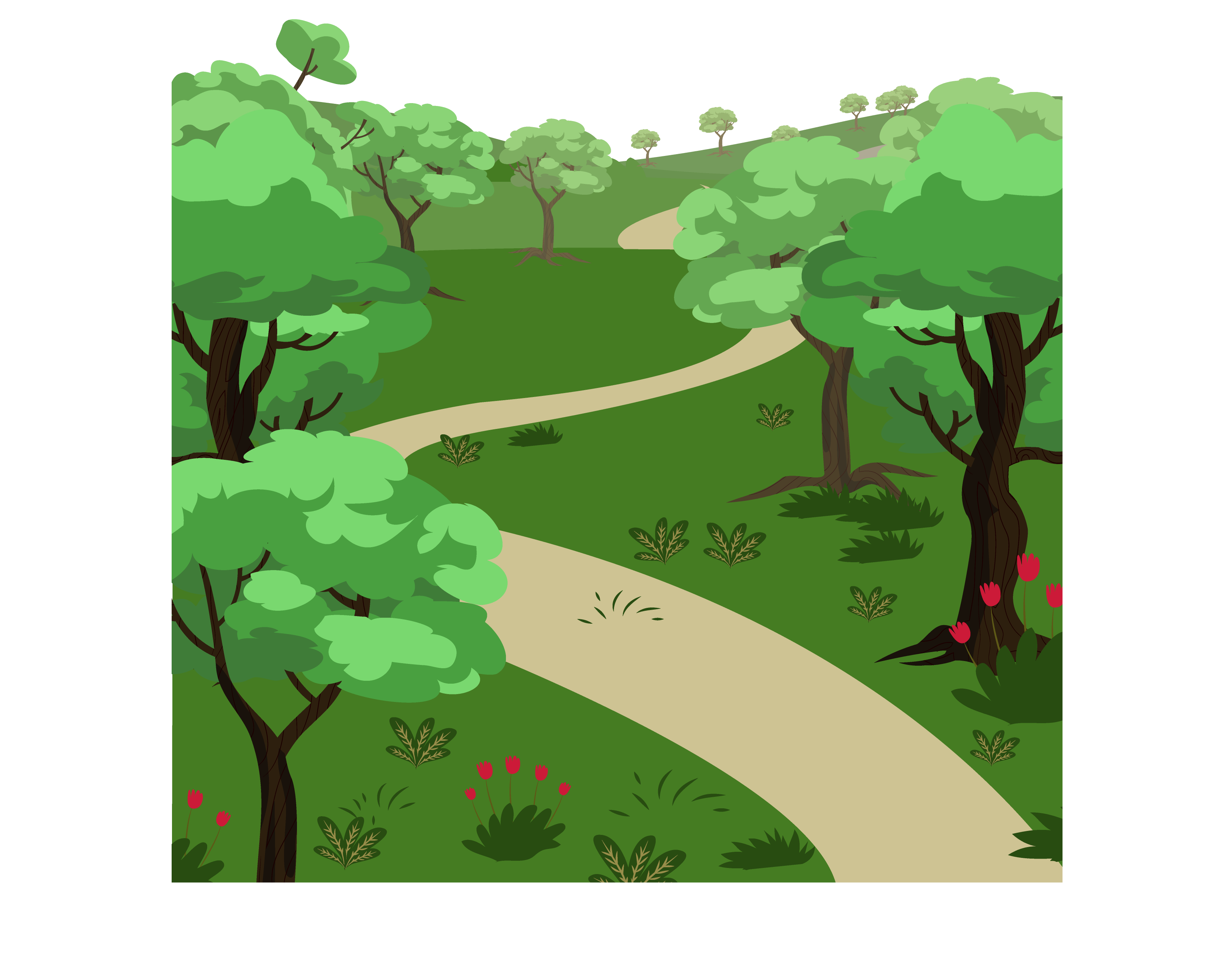 Intricate drawing landscape. Painting cartoon painted forest