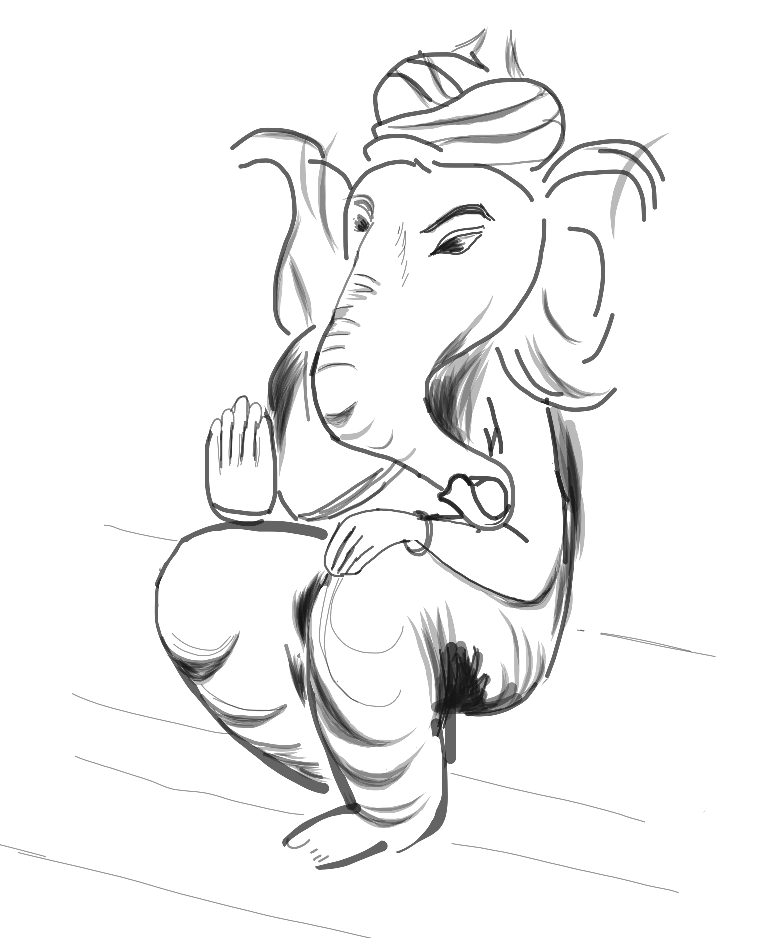 V drawing simple. Illustration of ganesh my