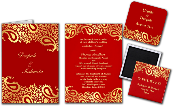 Hindu Marriage Invitation Cards Paisleys Elegant Indian Wedding
