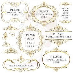 Invitation clipart elegant invitation. Gold flourish frames clip