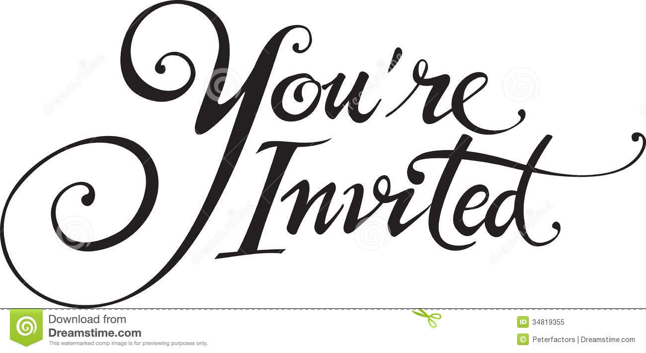 Invitation clipart word. Your invited card