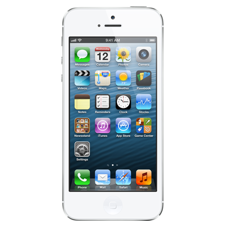 Iphone 5 real size png image. Gb white and silver