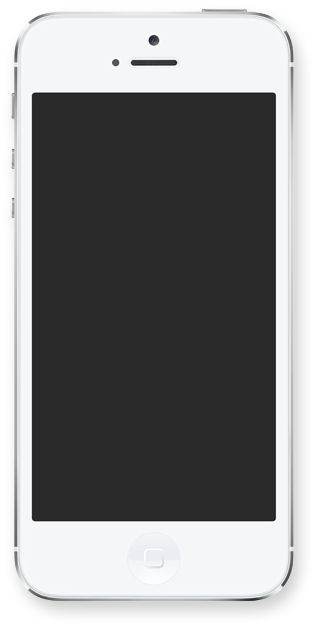 Iphone 5 white png. With blank screen from