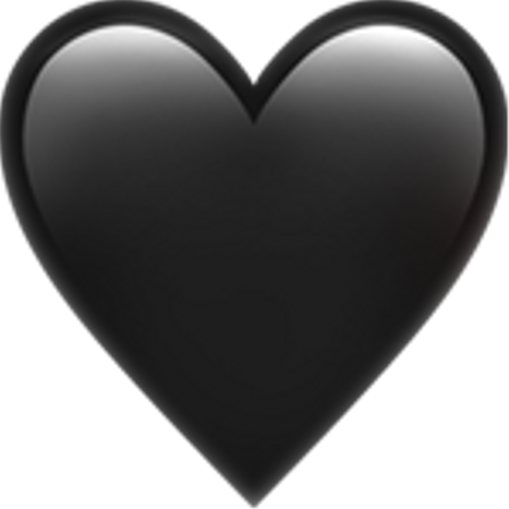 Iphone heart emoji png. Ios black blackheart